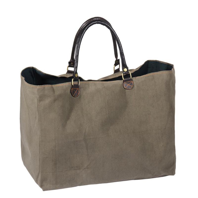 Pad Tasche Karo große robuste Sporttasche in Olive aus Baumwolle mit Leder Henkeln