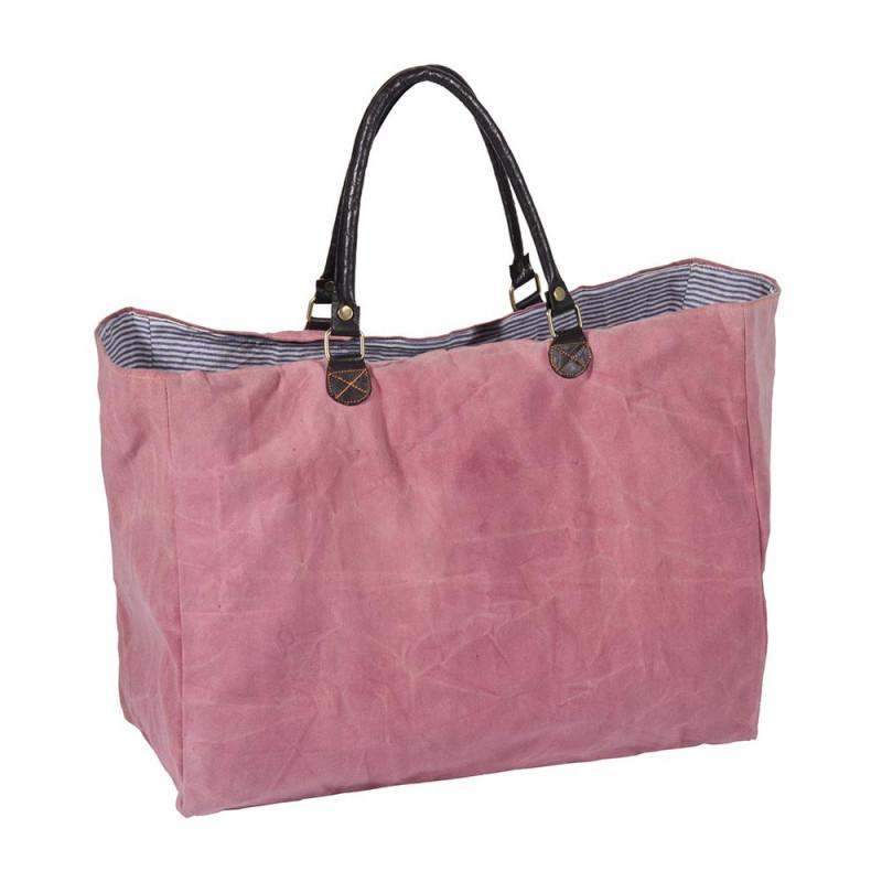 Pad Tasche Karo pink große robuste Einkaufstasche in Rosa aus Baumwolle mit Leder Henkeln