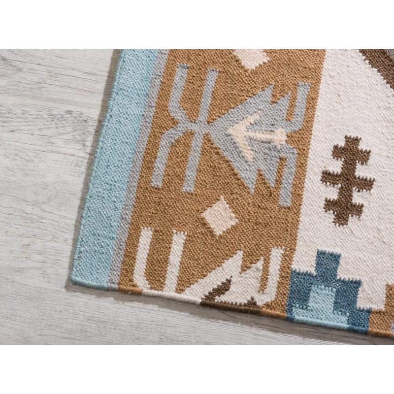 Pad Teppich Quero blau beige 140x200 Outdoor und Indoor Teppich Muster im Detail