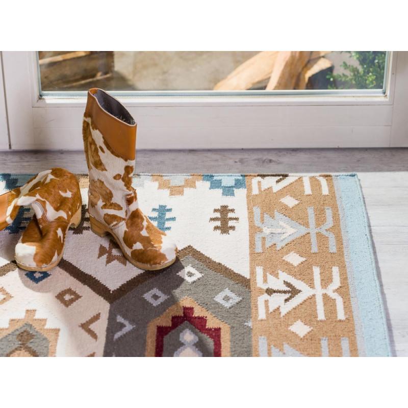 Pad Teppich Quero blau beige im Ethno Design 140x200 cm groß