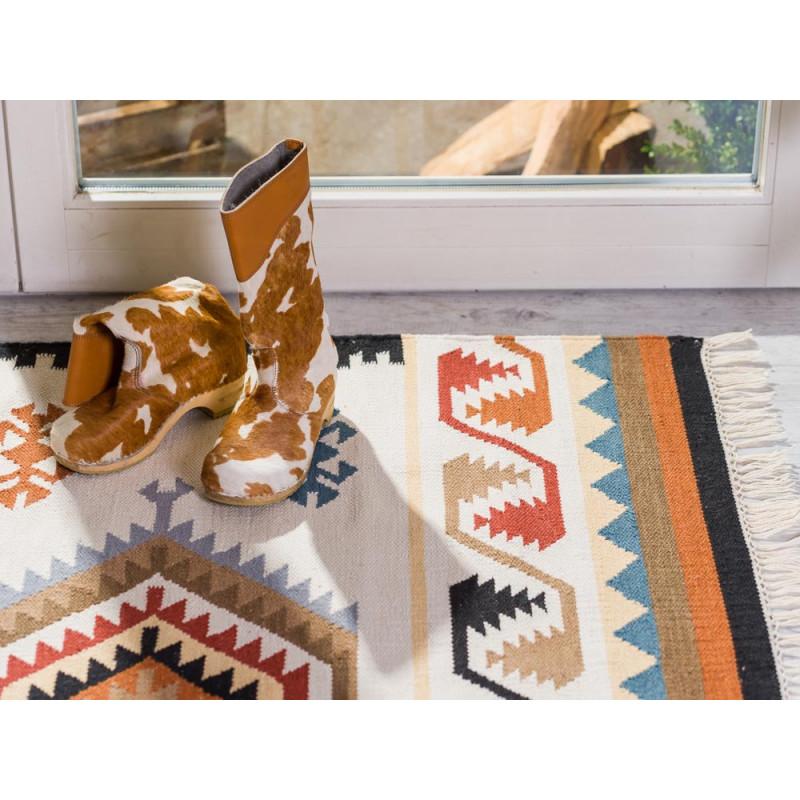 Pad Teppich Quero rot creme beige im Western Design 140x200 cm groß