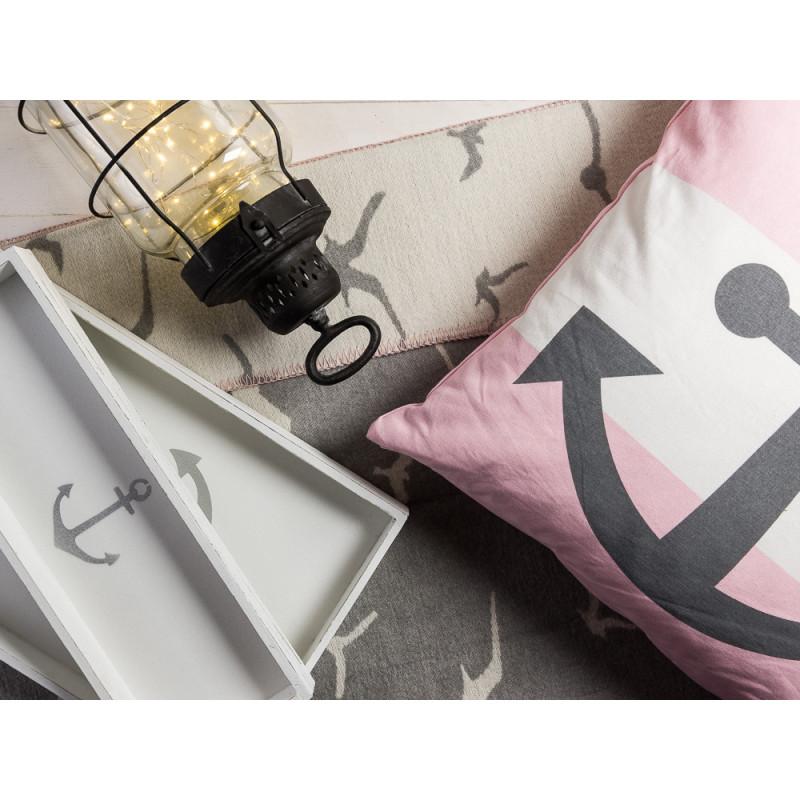 Pad Wendedecke Möwe Krasilnikoff Anker Kissen in rosa Windlicht Laterne Odin 44 cm hoch mit Deko Tablett Anker aus Holz weiß 15 cm und 30