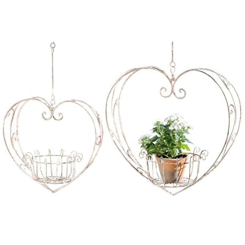 Pflantopf Hänger Herz Metall gross und klein Blumenampel Set Gartendeko