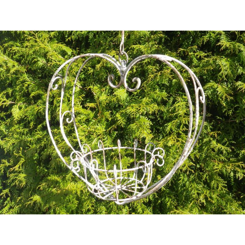 Pflanztopf Hänger HERZ Metall 26x40x104 cm Blumenampel Hochzeitsdeko Blumentopf Halter hängend