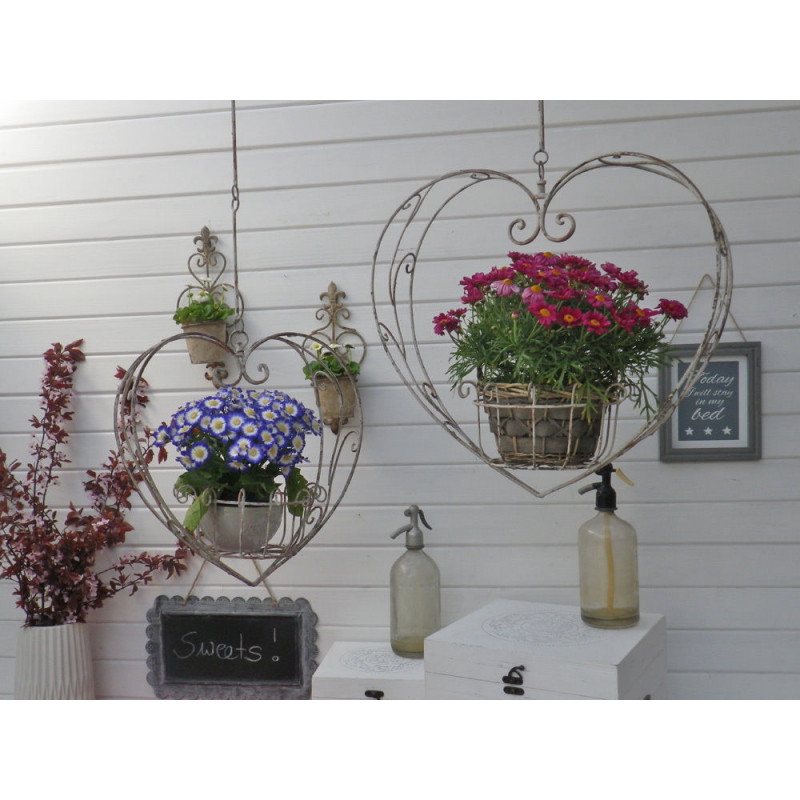 Pflanztopf Halter HERZ Metall Klein und Groß Hänger Länge 104 und 130 cm Blumenampel Hochzeitsdeko Blumen hängend