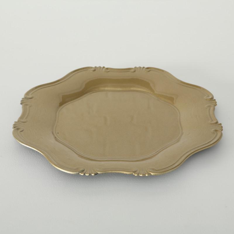 Platzteller Vintage gold aus Kunststoff 34 cm groß Deko Tablett