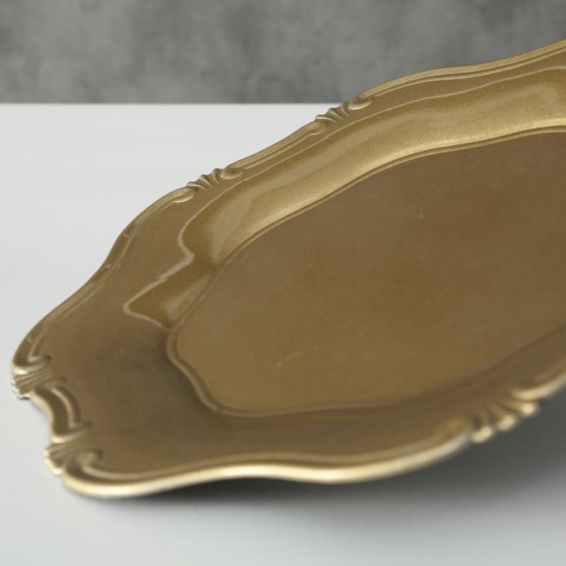Platzteller Vintage Kunststoff Gold 34 cm Durchmesser Deko in gold Tablett Schale Weihnachtsdeko nostalgisch
