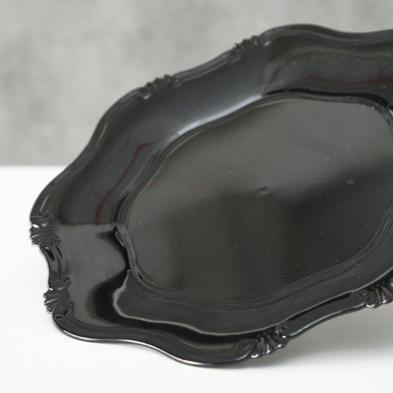 Platzteller Vintage Kunststoff Schwarz 34 cm Durchmesser Deko Tablett Schale Weihnachtsdeko nostalgisch