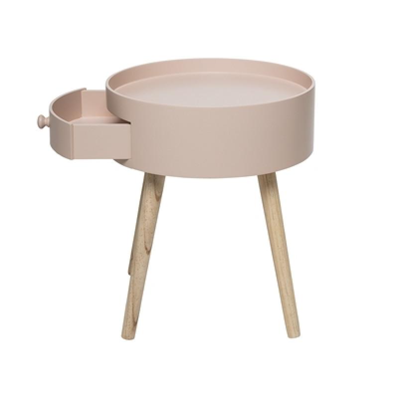Runder Bloomingville Tisch rosa mit Schublade im Retro Design