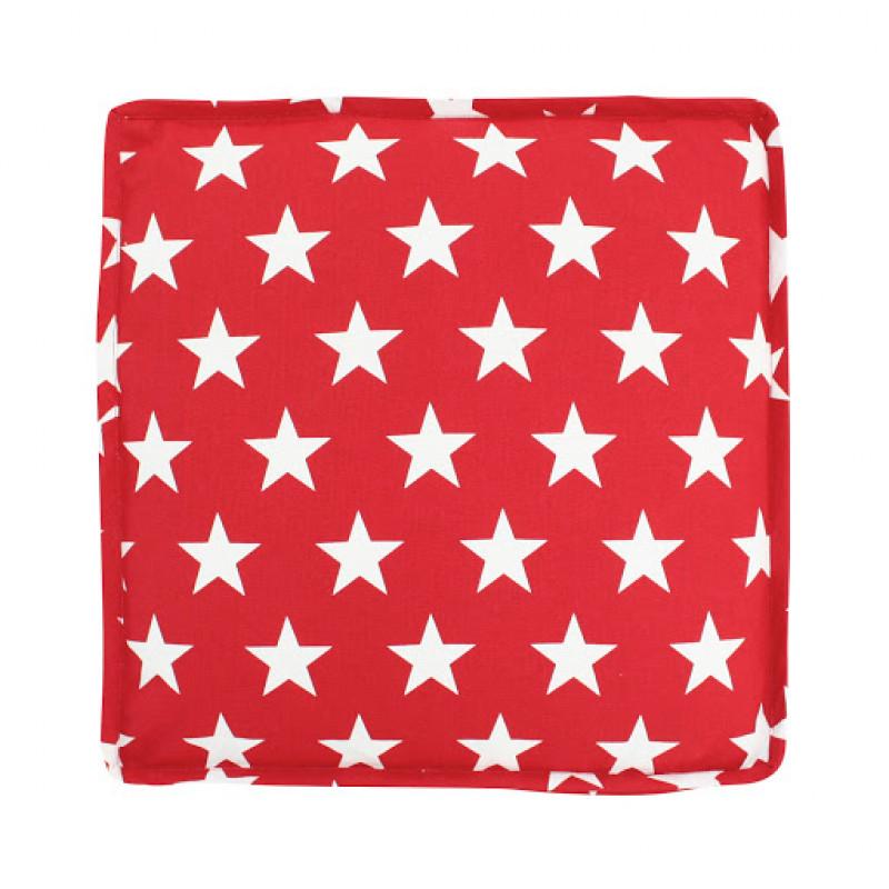 Sitzkissen Stars rot Sterne weiß Boxcushion Krasilnikoff