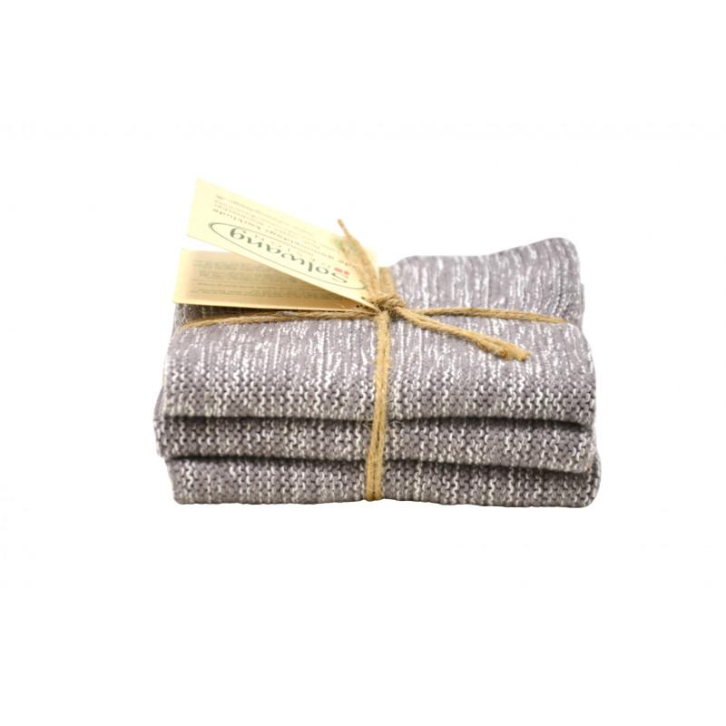 Solwang Wischlappen Organisch Creme Grau Meliert Tücher aus Bio Baumwolle im 3er Set Solwang Design Wischtücher