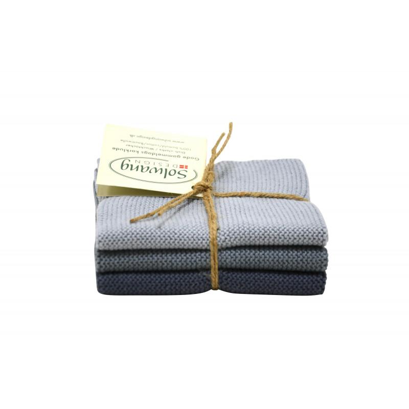 Solwang Wischlappen Sturmgrau Kombi Tücher aus Baumwolle in grau und dunkelgrau im 3er Set Solwang Design Wischtücher