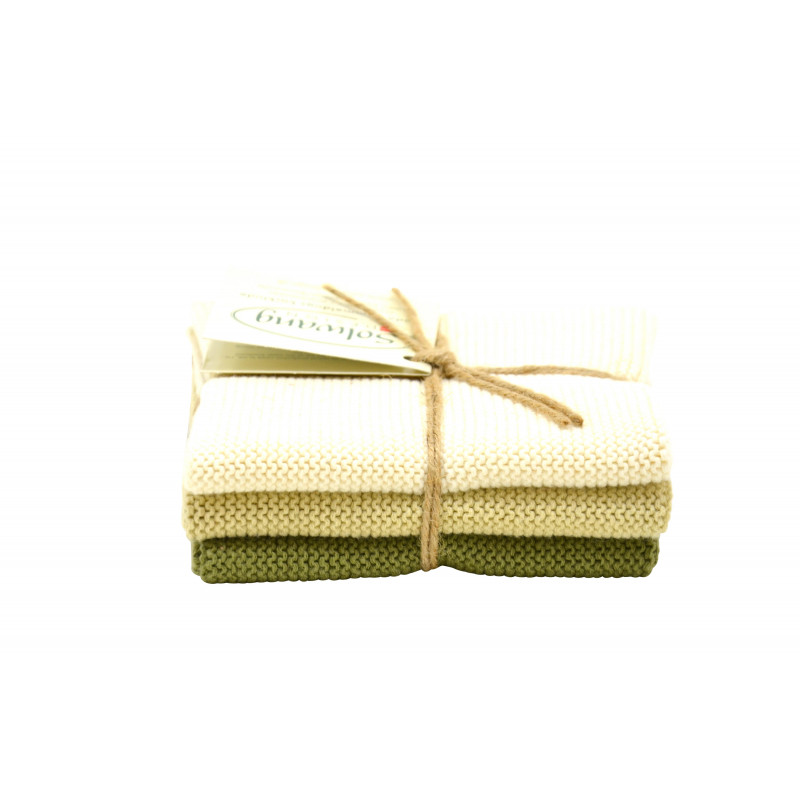 Solwang Wischtücher creme olive kombi aus Baumwolle 3 gestrickte Solwang Tücher im Set