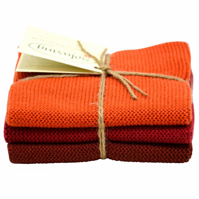 Solwang Wischtücher Gebranntes Rot kombi aus Baumwolle 3 gestrickte rote Solwang Tücher im Set