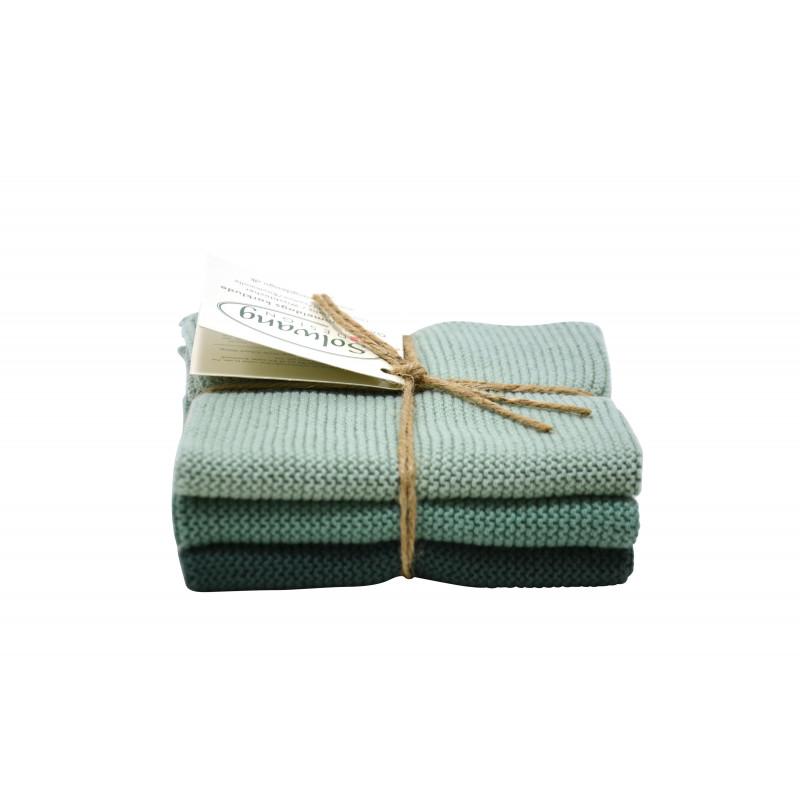 Solwang Wischtücher rustikales grün kombi aus Baumwolle 3 gestrickte Solwang Tücher im Set