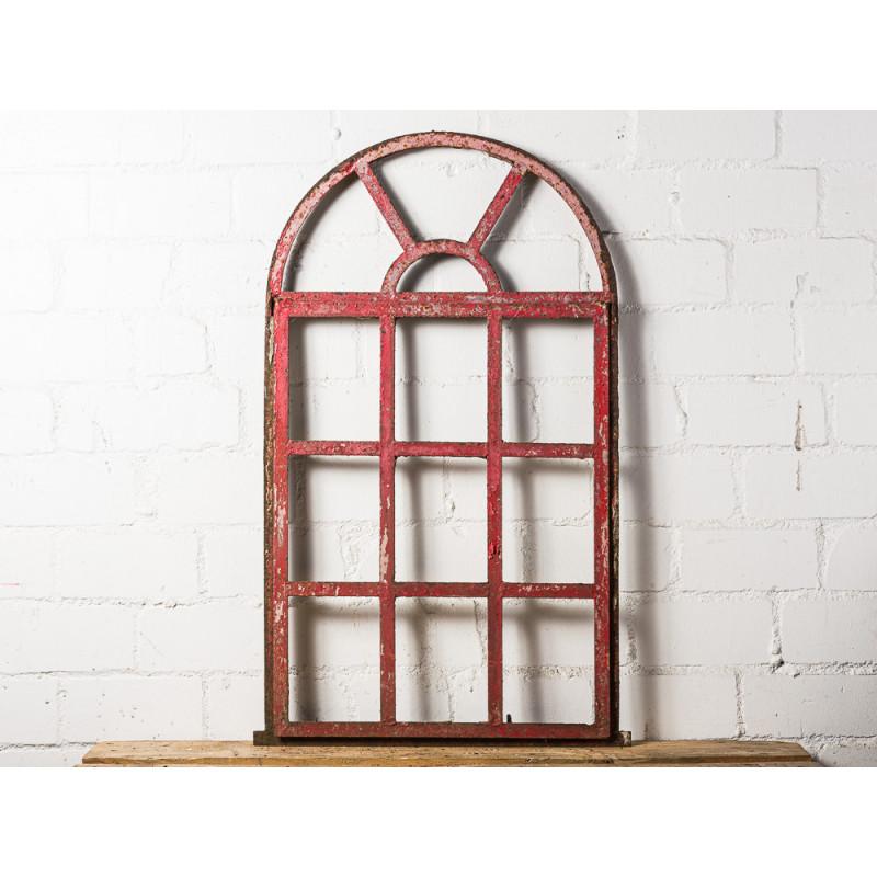 Stallfenster Antik mit großem Rundbogen Metall 61x105 cm Sprossenfenster zum Öffnen Deko Objekt oder zum Einbauen Unikat Model WW-292