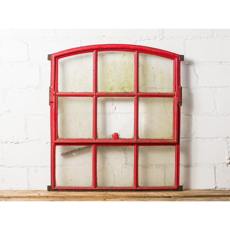 Stallfenster Antik Rot aus Metall kippbar 65x72 cm mit 9 Sprossen Deko Fenster Unikat Model WW-272