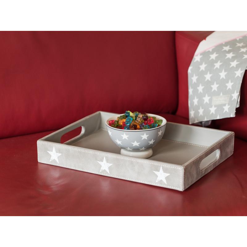 deko tablett jimmy grau mit weissen sternen in wildleder optik 35 cm gross. Black Bedroom Furniture Sets. Home Design Ideas
