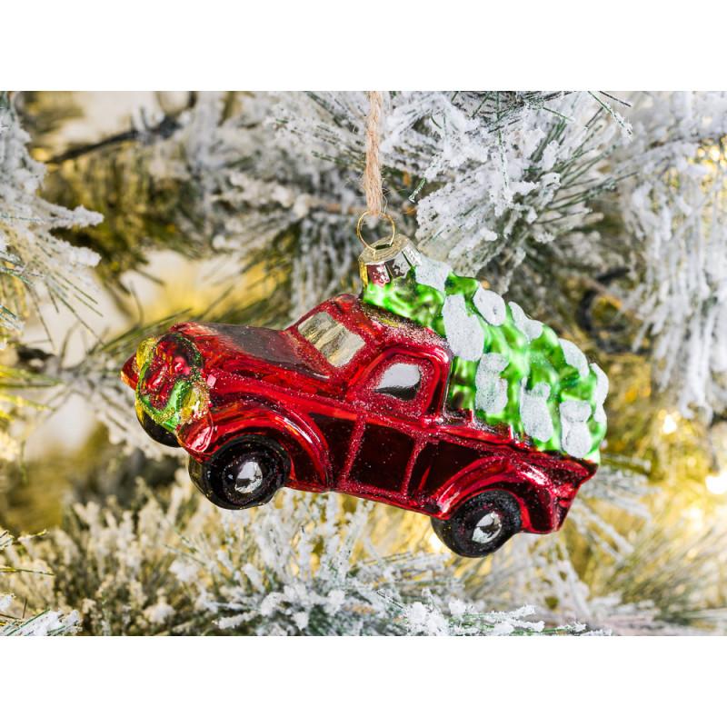 Tannenbaum Hänger Pick Up Glänzend mit Baum auf Dach Rot Auto 11 cm Glas Vintage Design Weihnachten Adventsdekoration Baumschmuck