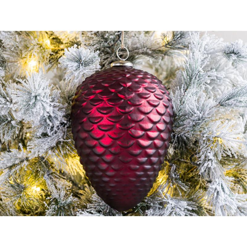 Tannenbaum Hänger ZAPFEN XL Rot matt 25 cm Weihnachtsdeko Tannenzapfen groß