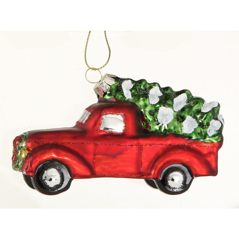 Tannenbaumhänger Auto Pick up Rot mit Weihnachtsbaum auf Dach Vintage Hänger aus Glas