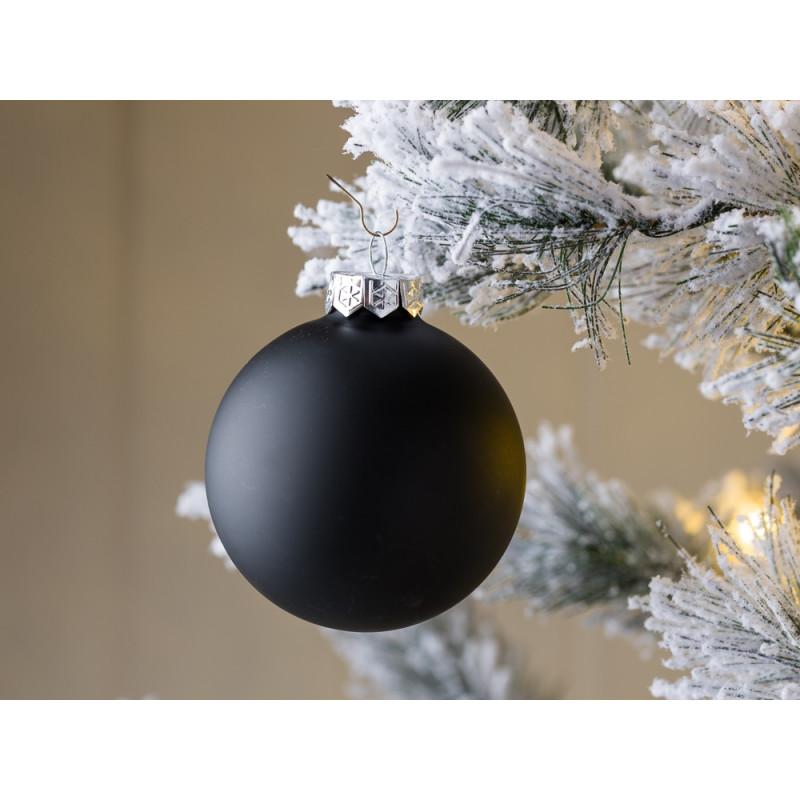 Tannenbaumkugel Linda schwarz mattiert 8 cm aus Glas Weihnachtdeko
