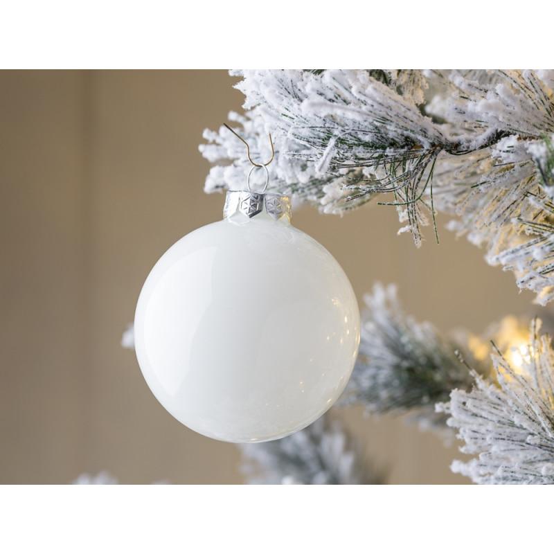 Tannenbaumkugel Linda weiß glänzend 8 cm aus Glas Weihnachtdeko