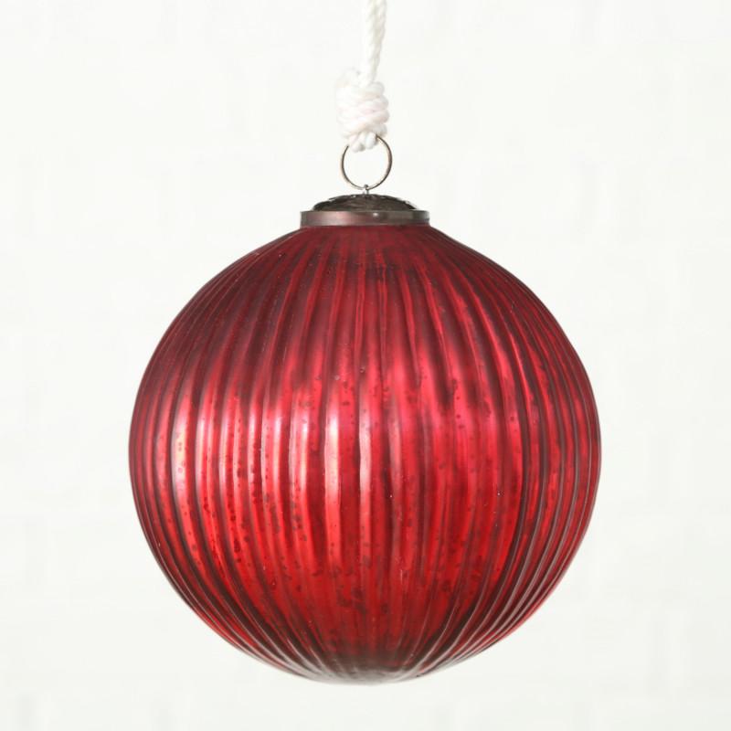 Tannenbaumkugel XL Rot mit Streifen Struktur Kugel Hänger 15 cm groß