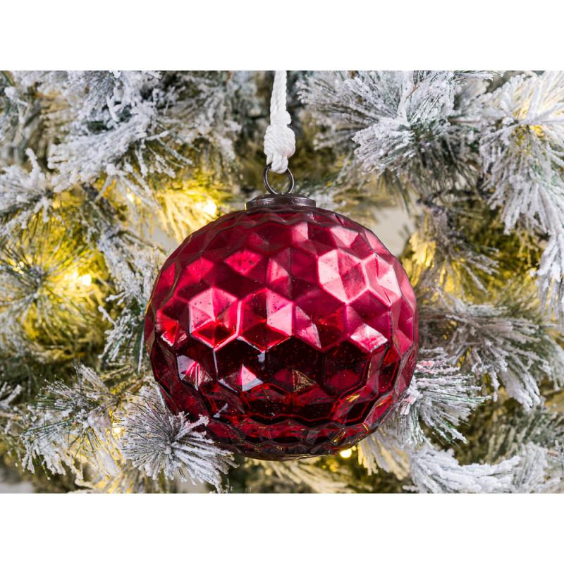Tannenbaumkugel XL Rot mit Waben Struktur Kugel Hänger 15 cm groß Baumschmuck Weihnachtsdeko