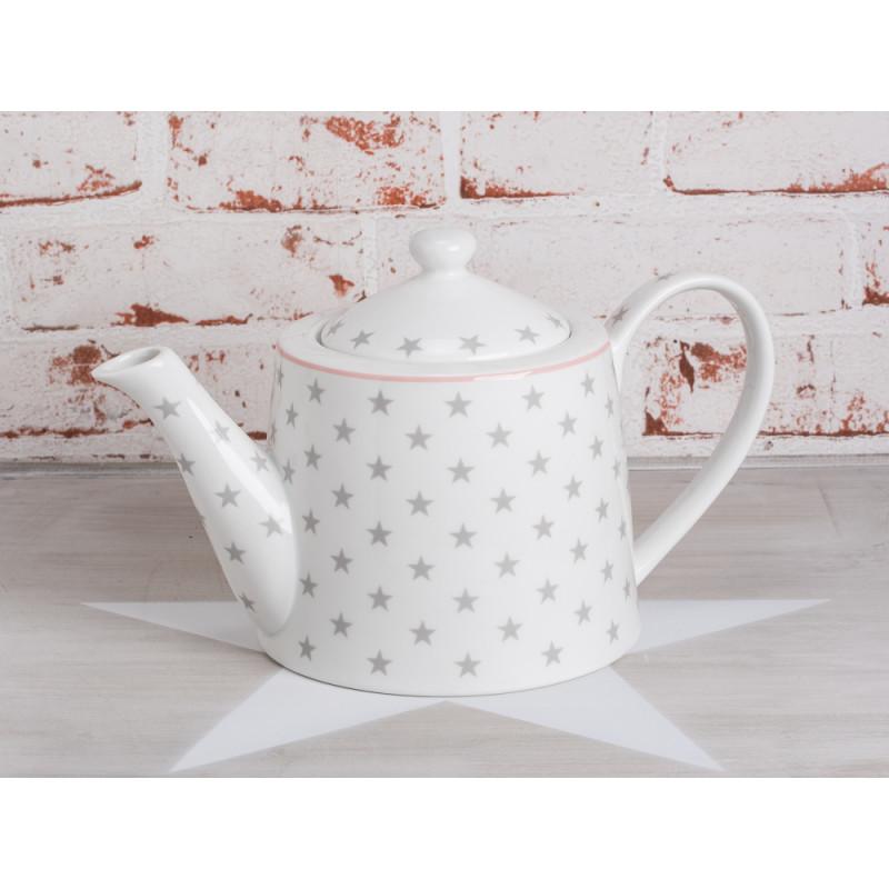 teapot star light grey teekanne wei sterne grau porzellan krasilnikoff. Black Bedroom Furniture Sets. Home Design Ideas