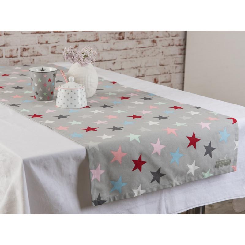 table runner stars grey multicolour tischdecke tischl ufer grau krasilnikoff. Black Bedroom Furniture Sets. Home Design Ideas