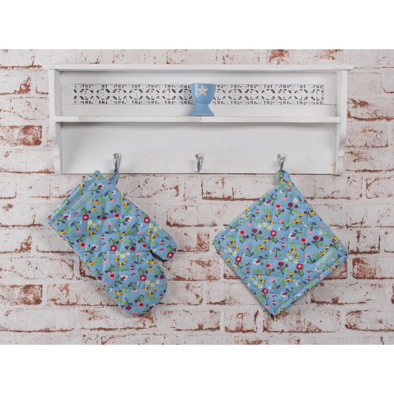 Topflappen Mille Fleurs blau mit bunten Blumen mit Ofenhandschuh Krasilnikoff