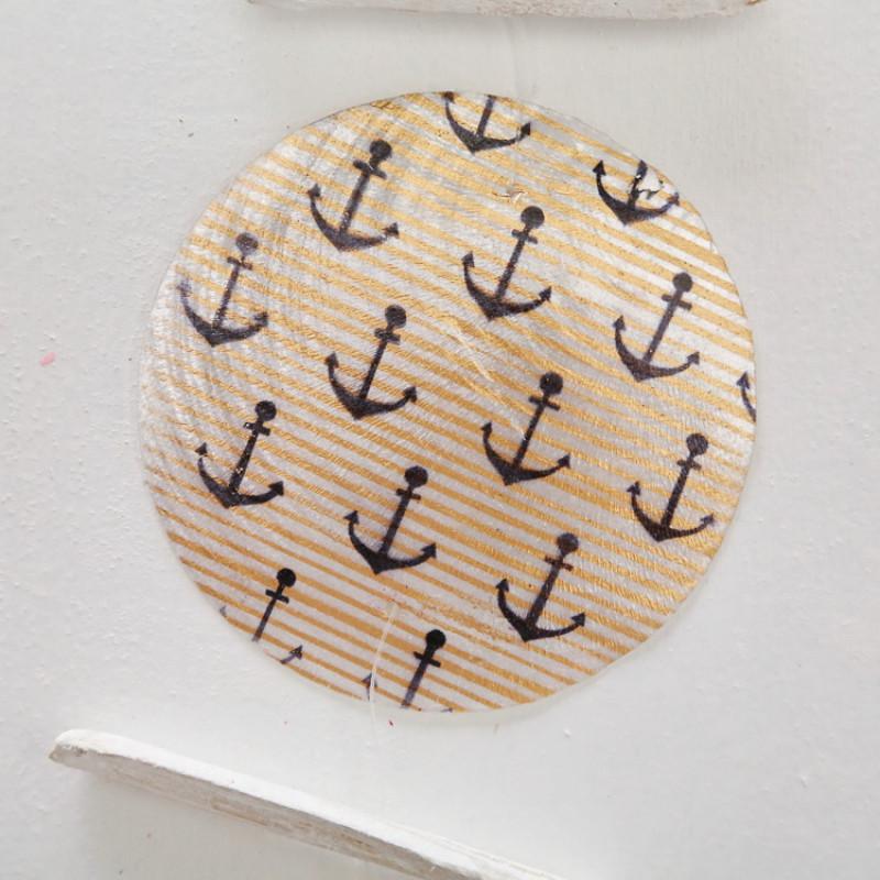 Treibholz Girlande aus Holz und Cadiz bedruckt mit Anker und Streifen rund Detail Element