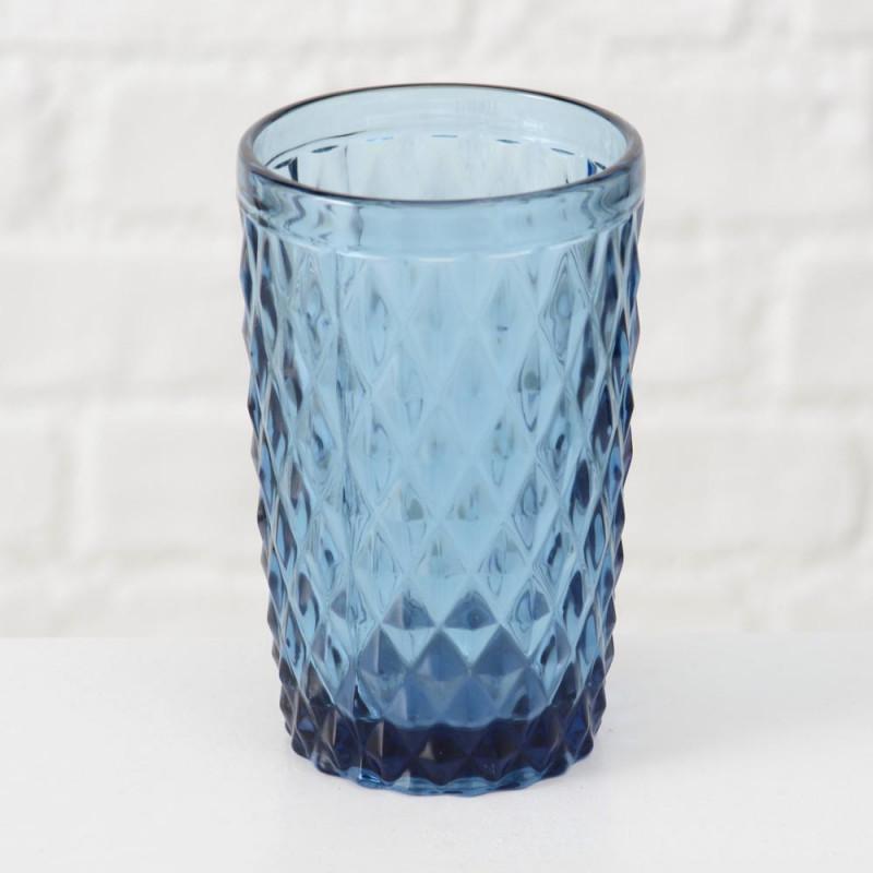 Trinkglas Milano blau Rauten Muster durchgefärbtes Glas 300 ml