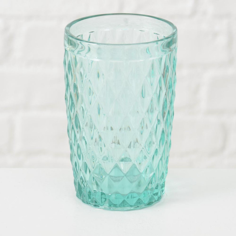 Trinkglas Milano türkis grün Rauten Muster durchgefärbtes Glas 300 ml