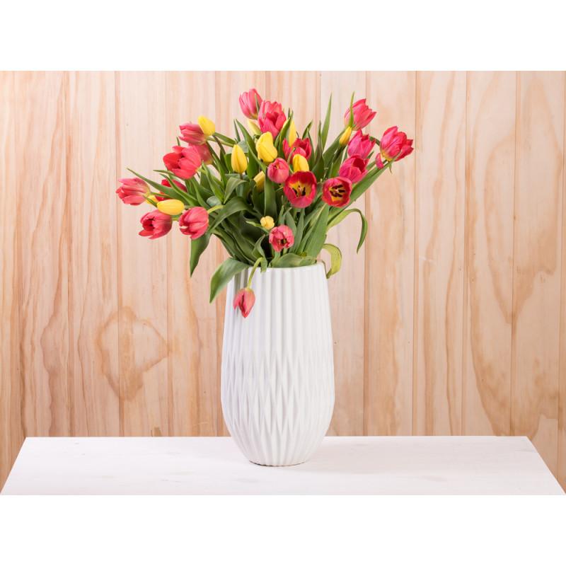 Vase Frieda Keramik weiß 31 cm große Blumenvase