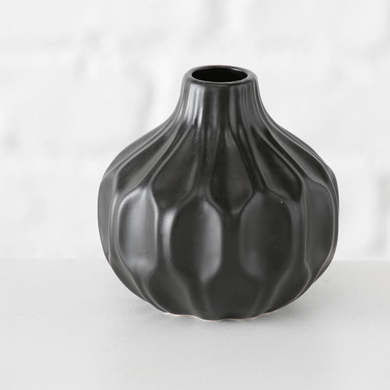 Vase Rosie schwarz Blumenvase aus Keramik 11 cm hoch