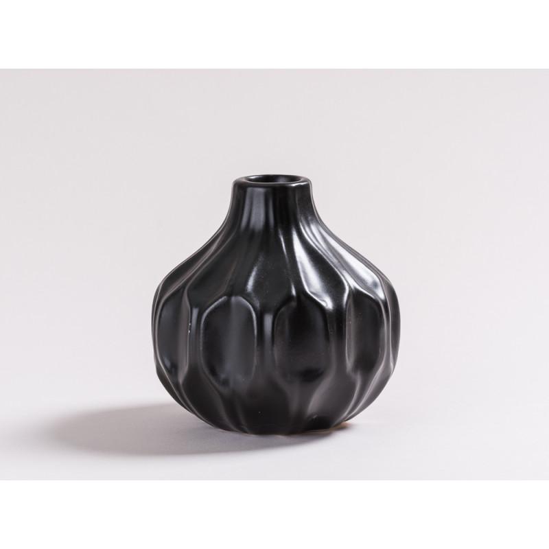 Vase Rosie schwarz matt Blumenvase aus Keramik 11 cm hoch Rillen Design modern für eine Blume