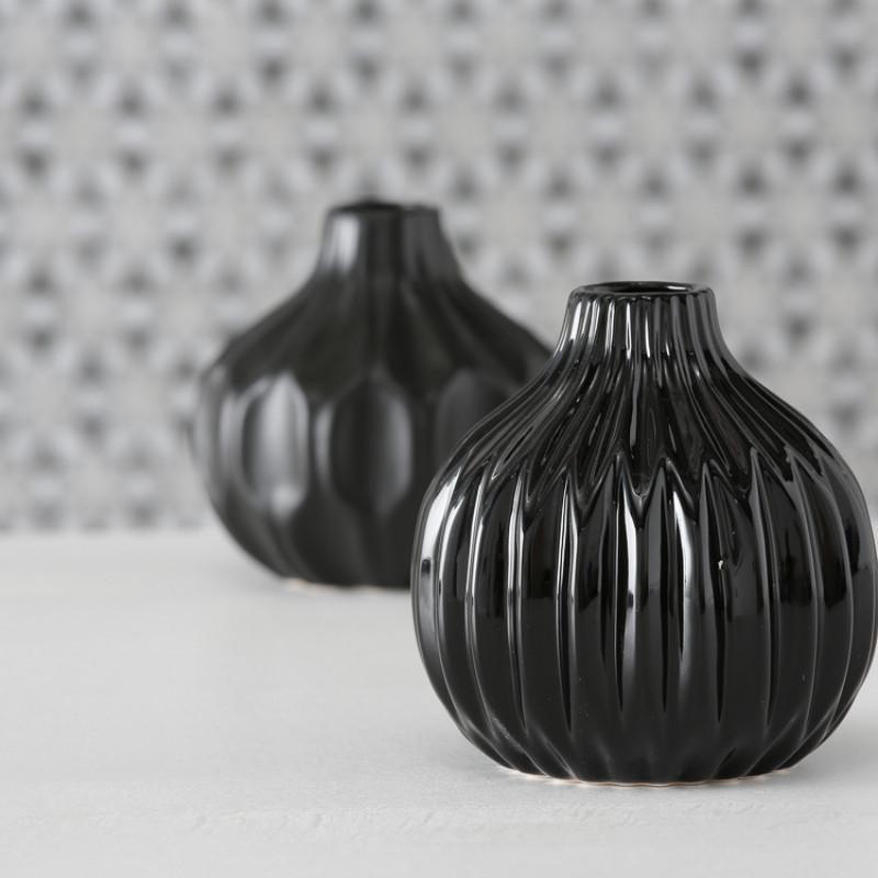 Vase Rosie und Ruth schwarz Blumenvase aus Keramik 3D Muster
