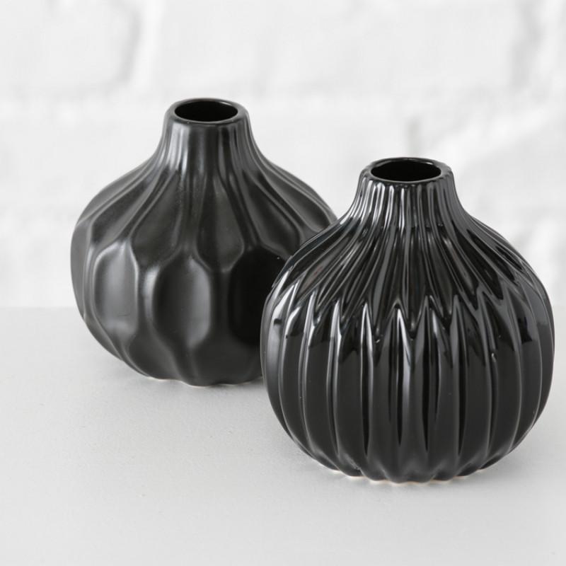 Vase Rosie und Ruth schwarz Blumenvase aus Keramik Duo Deko elegant