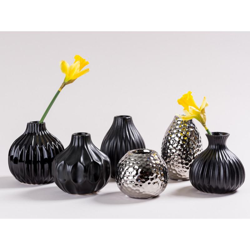 Vase Ruth Rosie Anne De Silva Lina schwarz und silber Blumenvase aus Keramik diverse Größen moderne Dekoration Gruppe eine Blume