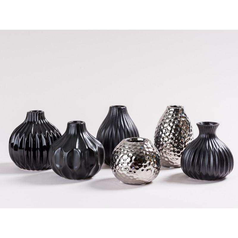 Vase Ruth Rosie Anne De Silva Lina schwarz und silber Blumenvase aus Keramik diverse Grössen moderne Dekoration Gruppe
