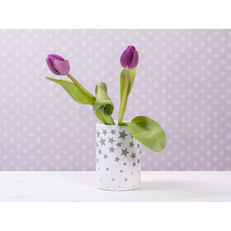 vase sterne weiss mit grauen sternen h he 11 cm aus keramik. Black Bedroom Furniture Sets. Home Design Ideas
