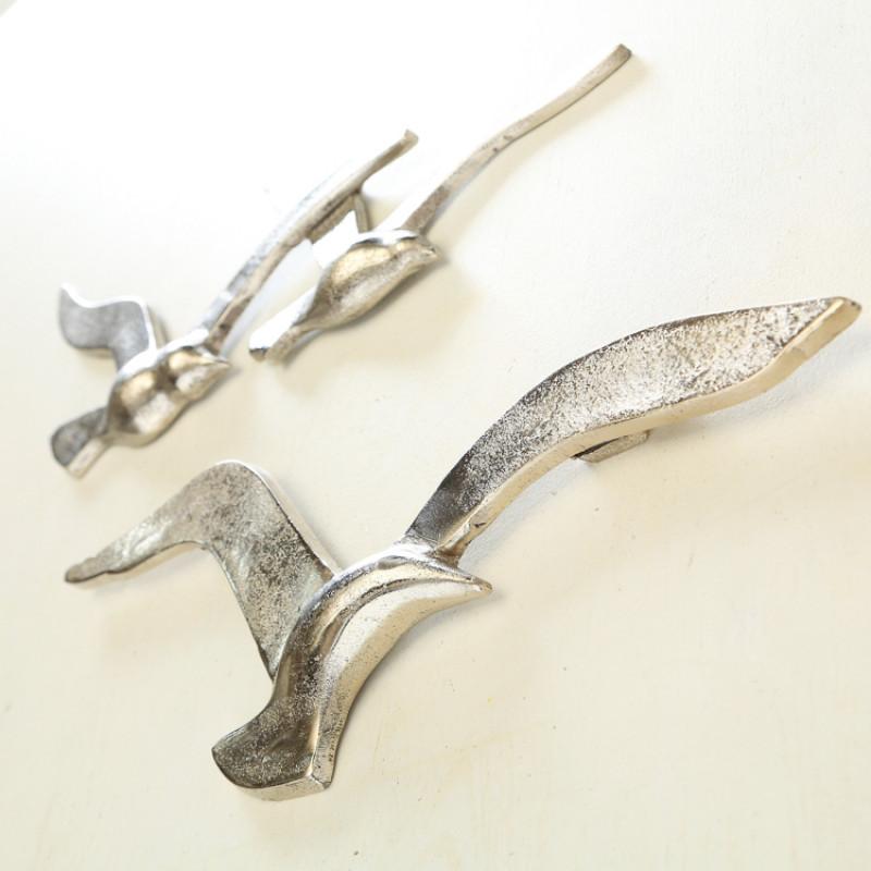Wand Objekt Möwe silber aus Metall Schwarm mit drei Möwen seitlich Detail 3D