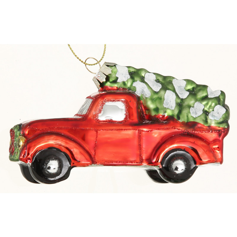 Weihnachtsbaumhänger Auto Pick up Rot mit Tannenbaum Nostalgie Hänger aus Glas