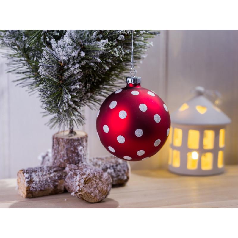 Weihnachtskugel rot punkte wei wohnhaus welten - Weihnachtsdeko rot ...
