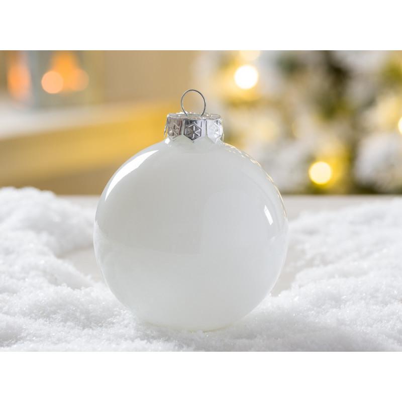 Weihnachtskugel Linda weiß glänzend 8 cm aus Glas