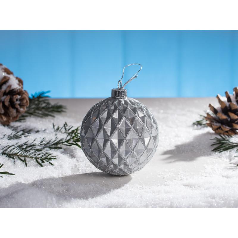 Weihnachtskugel mette grau christbaum kugel mit karo for Christbaumkugeln grau