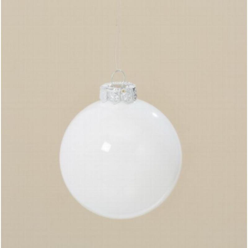 Weihnachtskugel weiß glänzend Linda Tannenbaum Schmuck aus Glas