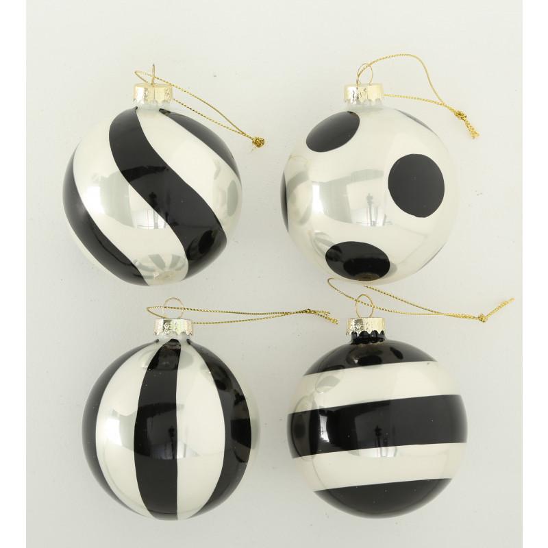 Weihnachtskugeln Greta Schwarz weiß 8 cm 4er Set Tannenbaumkugel aus Glas